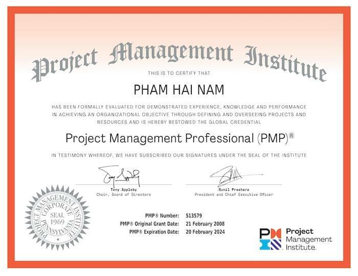 Chứng chỉ PMP Phạm Hải Nam